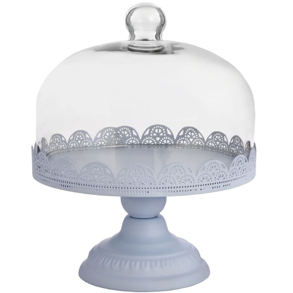 Pale Blue Cake Stand with Glass Dome - Vintage Style County Rustic Kitchen Cake Stand